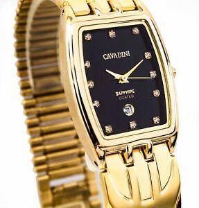 Cavadini Tonneau Luxury Unisex Watch With Simili Stones Ipg Gold-Plated