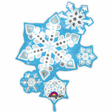Navidad Copo de Nieve Globo Grande Azul y Plata Copo de Nieve Globo Decoración