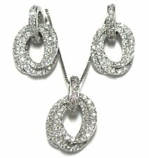 White CZ Open Ovals Earrings and Necklace Pendant Set Sterling Silver