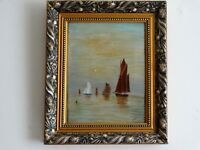 Old Original Oil Painting Seascape by F.M.I. Very well Painted on Canvas.