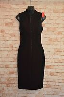 A823	CUE PENCIL DRESS AUBERGINE & BLACK SIZE 6 NEW WITH TAGS MADE IN AUSTRALIA