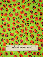Halloween Pumpkin Fabric 100% Cotton By The Yard Trick Or Treat Orange Green