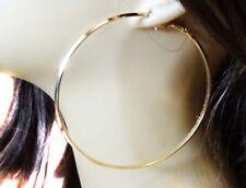 LARGE GOLD HOOP EARRINGS 3.5 INCH HOOPS SOLID SHINY GOLD TONE HOOP EARRINGS