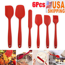 6Pcs Spatula Set Non stick Silicone Heat Resistant Baking Kitchen Tools Spatulas
