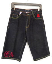 """CHRISTIAN AUDIGIER MENS DENIM EMBROIDERED """"DEATH FROM ABOVE"""" SHORTS 34 - EUC"""