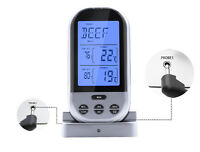 Wireless Smoker Remote Dual Probe Digital BBQ Grill Meat Thermometer Alarm Timer
