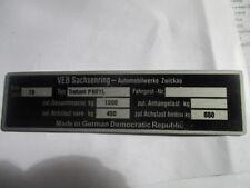 ID Nameplate IFA VEB Sachsenring Trabant P 601 L S32