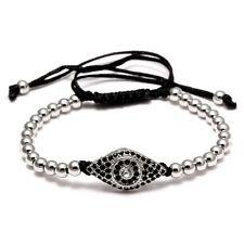 Silber Perlen Zirkonia Shamballa Nazar Evil Eye Polyester Damen Herren Armband