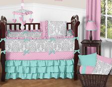 Luxury Turquoise Blue Pink and Gray Damask Polka Dot Baby Girls Crib Bedding Set
