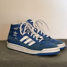 Adidas Forum Mid RS Basketball Shoes Mens 10 Blue Suede Leather B35273 Sneakers