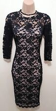 "FANTASTIC ""ATMOSPHERE"" SIZE 8 DARK NAVY/NEARLY  BLACK LACE BODYCON DRESS. LINED."