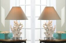 White Coral Table Lamps with Neutral Color Fabric Shades Nautical Decor Set of 2