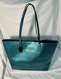 Coach F79983 Metallic Leather Town Tote Viridian Green Shoulder Handbag