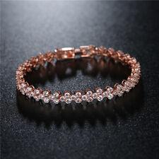 Tennis Armband Armkette Bracelet Rotgold Rosegold verg. 17 cm Kristalle Geschenk