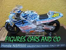 MOTO GP 1/24  HONDA NSR 500 VALENTINO ROSSI 2001  MUGELLO PNEUS PLUIE