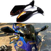 Motorcycle LED Turn Signal Rearview Mirrors For Yamaha YZF600R YZF1000R YZF R6 A