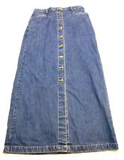 Eddie Bauer Womens Size 8 Blue Denim Button Front Skirt Good Condition