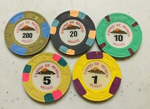 CASINO DE MEXICO - 5 CHIPS,  PAULSONS GAT & CANE CLAY MOLD, INLAYS & INSERTS,
