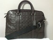 Coach Men's Heritage Web Leather Embossed C Brief in Brown F71247 Msrp: $548.00
