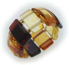 Ring Real Amber Multicolour 925 Elastic Band Sterling Silver Ladies