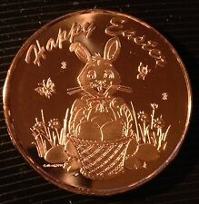 "1 OZ COPPER ROUND ""HAPPY EASTER"" EASTER BUNNY"