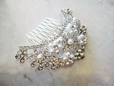 Crystals, pearls and flowers silver hair comb  barrette  clip bridal clip silver
