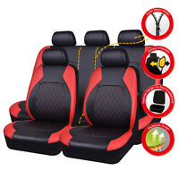 Universal Car Seat Covers PU Leather Red Black Waterproof Airbag For SUV VAN