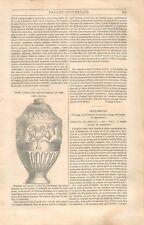 Urne cinéraire funéraire deux Griffons à Pézenas Hérault Occitanie GRAVURE 1834