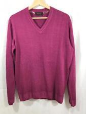 SAND Copenhagen $198 Men's 100% Merino Wool V-Neck Sweater Pink / Purple Sz M