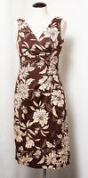 Donna Ricco Brown Cream Floral Sundress V-Neck Sleeveless Dress Size 6