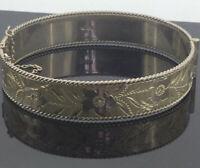 Antique Bracelet Bangle Solid Silver Hinged Flower Embossed Traditional Elegant