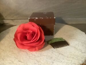 Women Pin Vintage Silk RED Rose Flowers Brooch Pins AND HAIR CLIP