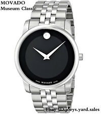 New Movado Museum Classic SWISS Black Dial Stainless Steel Men's Watch 0606504