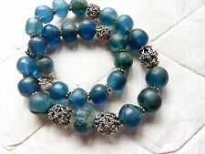 Ancient Roman Islamic Medieval Blue folded Glass Beads Necklace, Mali,