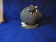 Collectible  00006000 home decor large gray shell with a turtle and sea shells (not real)