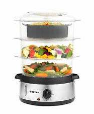 Salter EK2845 Healthy Cooking 3-Tier Food Rice Meat Vegetable Steamer, 9 Litre,