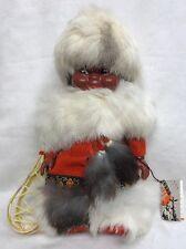Vintage Native Doll Figure Indien Art Eskimo Quebec Canada w/ Tag Real Fur