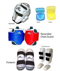 Taekwondo sparring gear Protectors Helmet Shin Forearm Instep Mouth guard 7 pcs