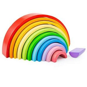 Bigjigs Toys - 12 Rainbow Large Wooden Stacking Half Rings