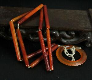 5cm China Antique Necklaces nature Red agate Pendants amulet