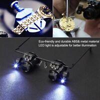 Riparazione dell'orologio Lente di Ingrandimento 20X Occhiali con luce LED