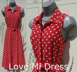 Gorgeous WW2 40's Style Polka Dot Tea Dress Size 24 EU52
