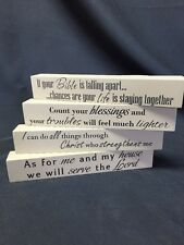 4 Set-Christian House Decor Wooden Sign Message Blocks & Inspirational Bible God