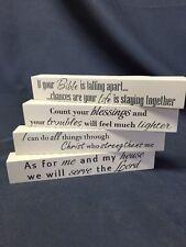 4 Set-Christian House Decor Wooden Sign Message Blocks & Inspirational Bible God