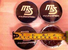 MAZDA SPEED ALLOY WHEELS CENTRE CAP SET (4) BLACK DIAMETER 60 mm 58 mm clip
