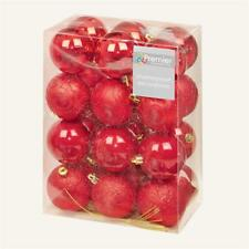 Christmas Tree Decoration 24 Pack 60mm Shatterproof Baubles - Red