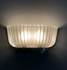 PAIR Art Deco Italian Frosted Glass Wall Sconces Elegant Fluted Fan Shade Chrome