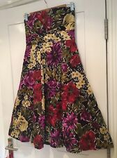 Ladies F&F Strapless bold Watercolour Floral Dress Size 8 Vintage wedding summer