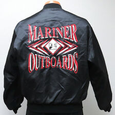 vtg MARINER OUTBOARDS Black Satin Jacket MED 90s boat engine quilted mercury M