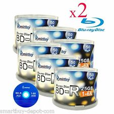 600 Pcs SmartBuy Blank BD-R BDR 6X 25GB Blue Blu-ray HD Logo Top Recordable Disc